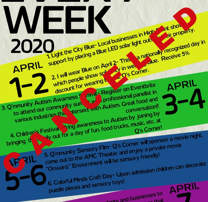 Q's Corner Autism Awareness Events Canceled  due to COVID-19 Pandemic